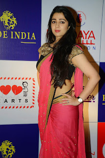 Actress Charmy Kaur Latest Pictures in Pink Saree at CCL Charity Dinner  40.JPG