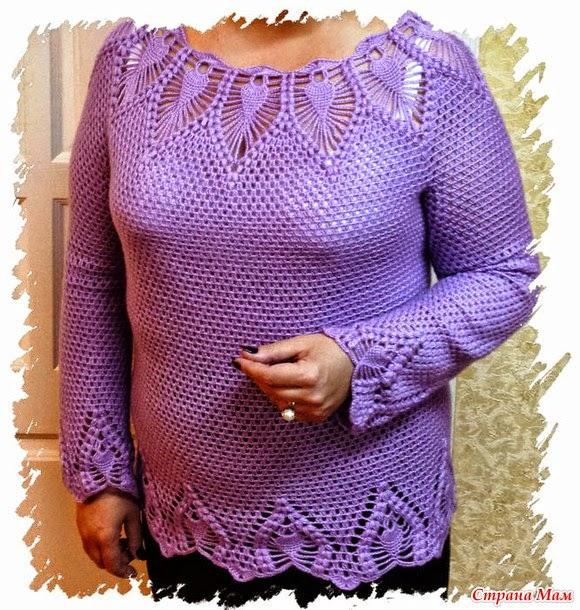 Blusa mangas largas calada al crochet - con diagrama y molde