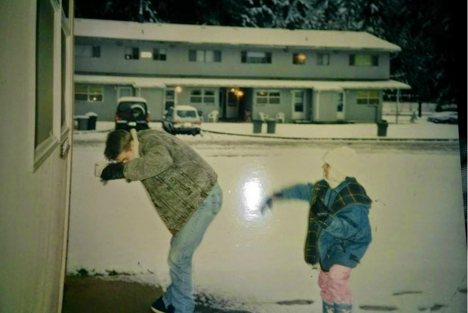 Throwing a snowball in Tacoma, Washington