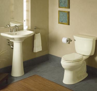 Kohler K-3609-T Cimarron Comfort Height Elongated 1.28 GPF Toilet With Class Six Technology & Left-Hand Trip Lever With Tank Cover Lock