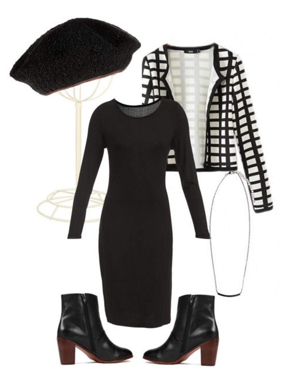 clothes, checked blazer, beret,