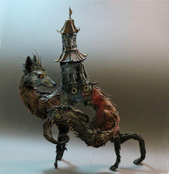 Ellen Jewett CreaturesFromEl deviantart esculturas surreais mixed animais Chacal noturno