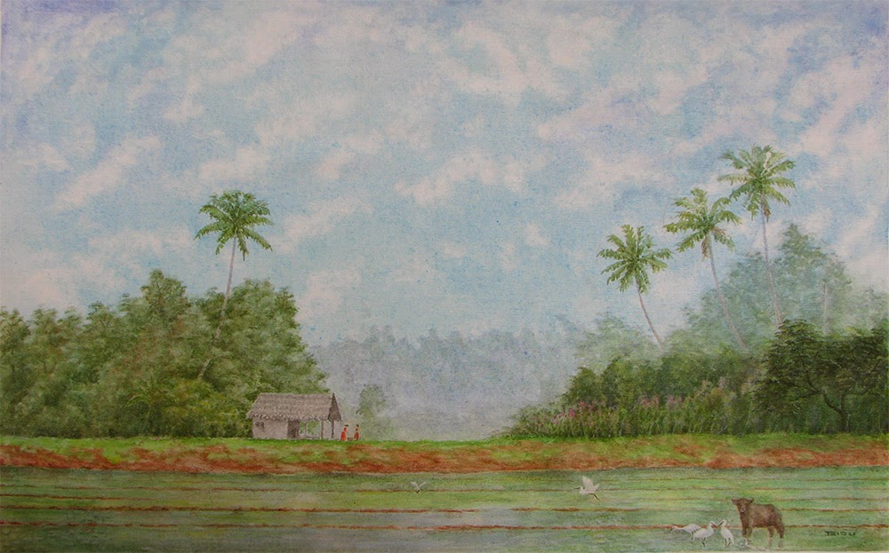 Large acrylic painting on canvas.  Kuttanad series.  Paddy fields of kuttanad painting