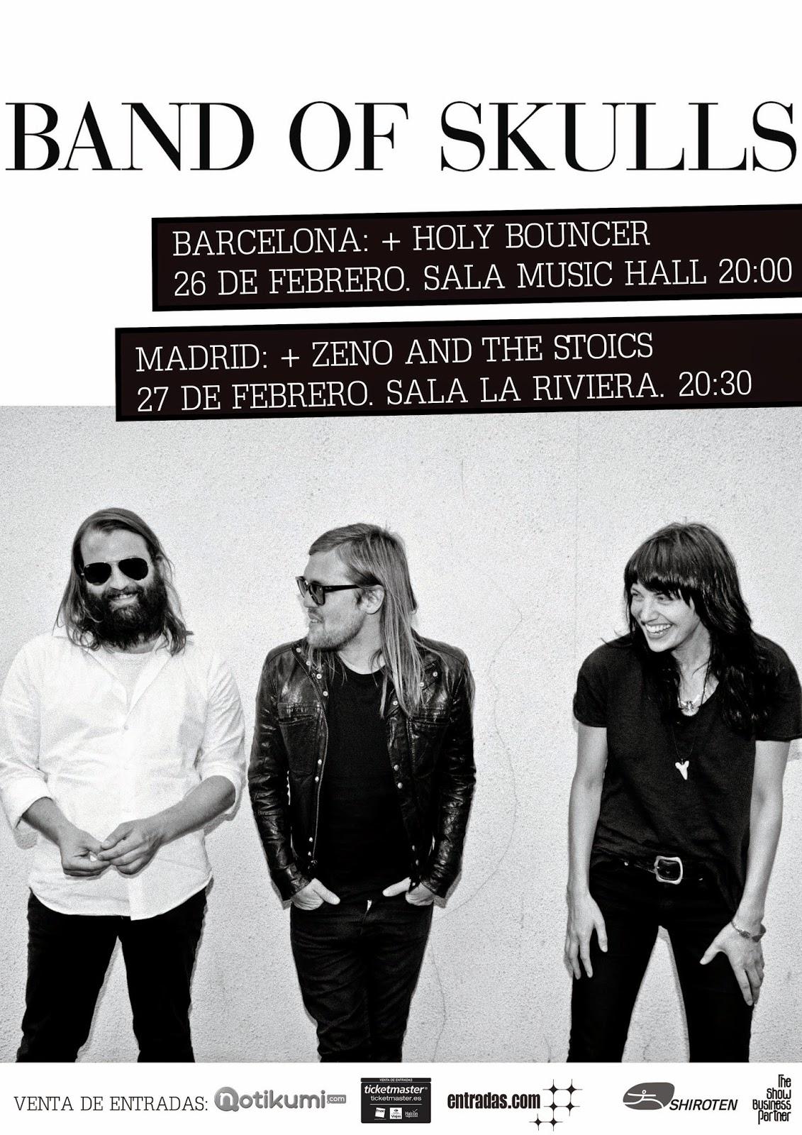 BAND OF SKULLS en concierto en BARCELONA y MADRID 26 y 27 de Febrero