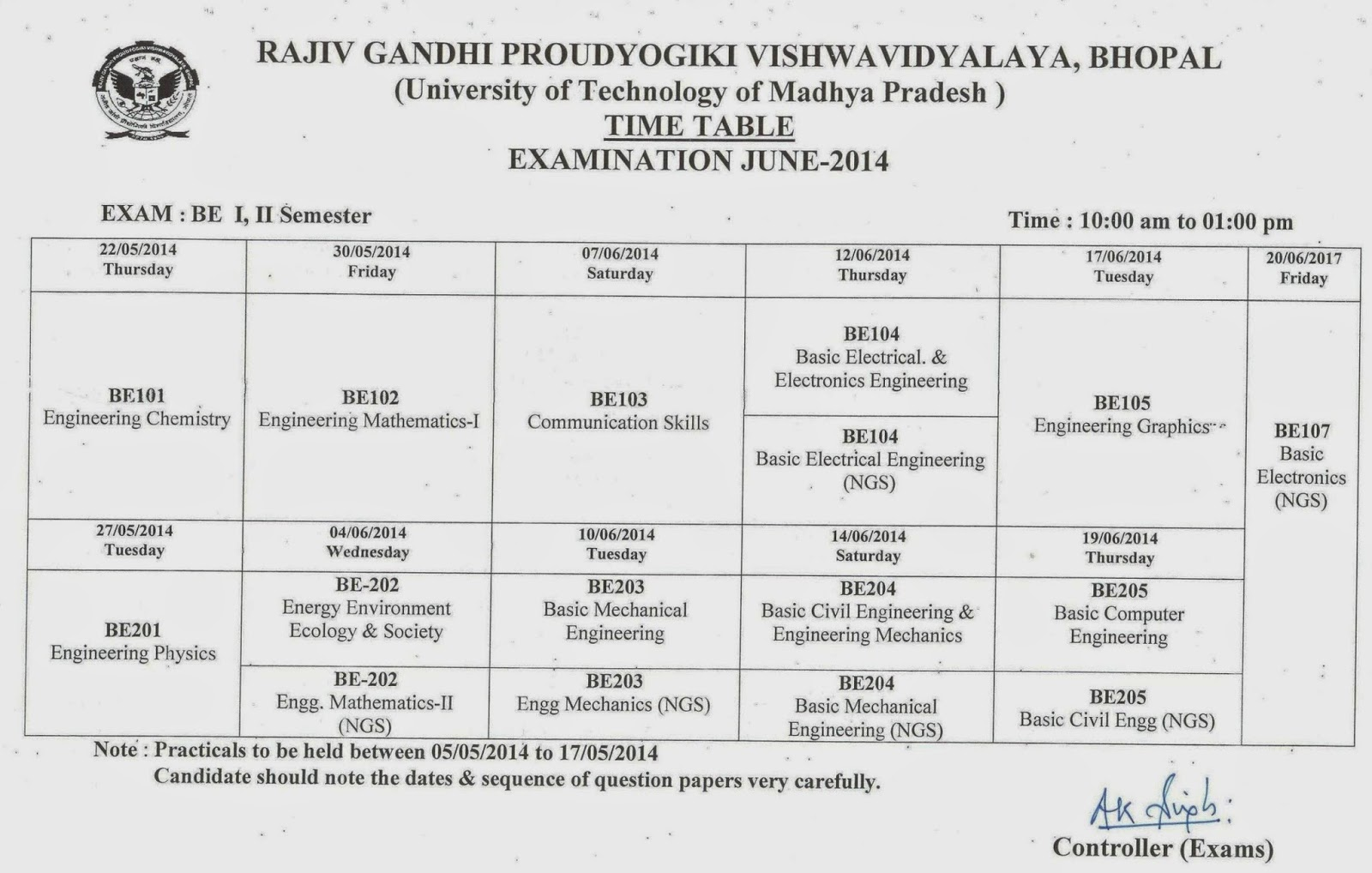 Bsc 3rd sem exam time table for Rgpv time table 6th sem 2015