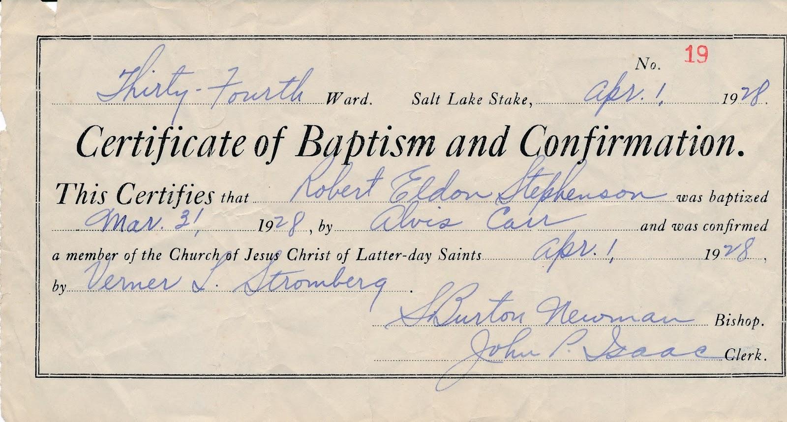Stephenson family history robert e stephenson baptism and robert e stephenson baptism and confirmation certificate 1betcityfo Images