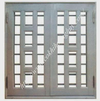 Cửa sắt hộp 2 cánh thi công cửa sắt 2