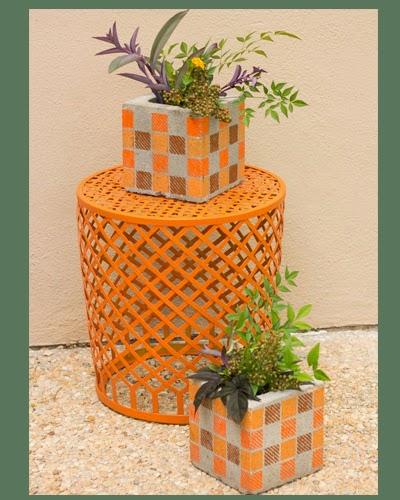 Vaso reutilize blocos de concreto