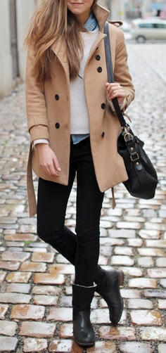 Cream coat white sweater denim shirt and pants purse and long boots