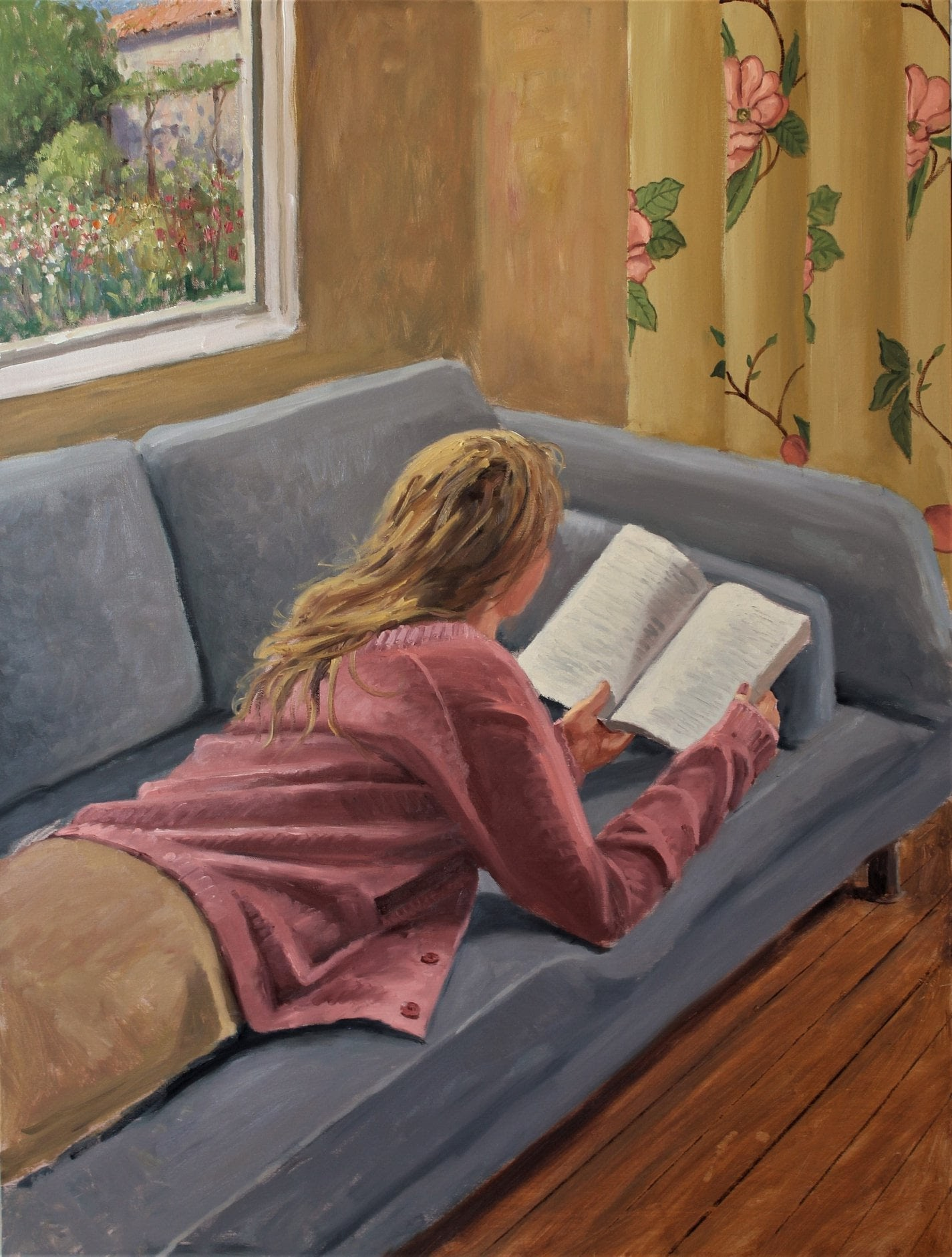 Roelof Rossouw Girl on couch with a good book