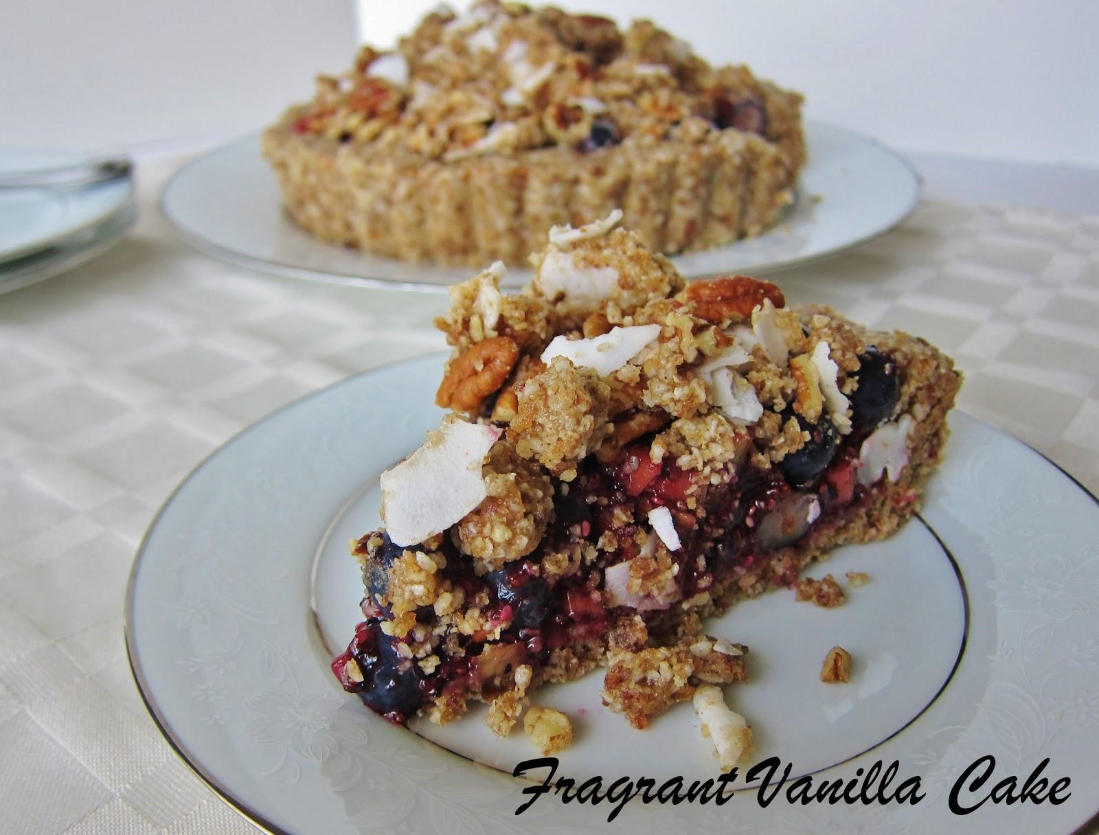 Blueberry Rhubarb Ginger Crumble Tart | Fragrant Vanilla Cake