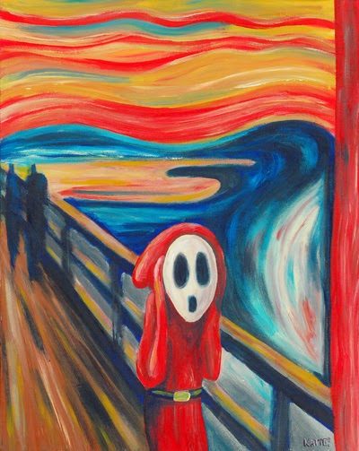 Image of The Scream painting, only with Shy Guy