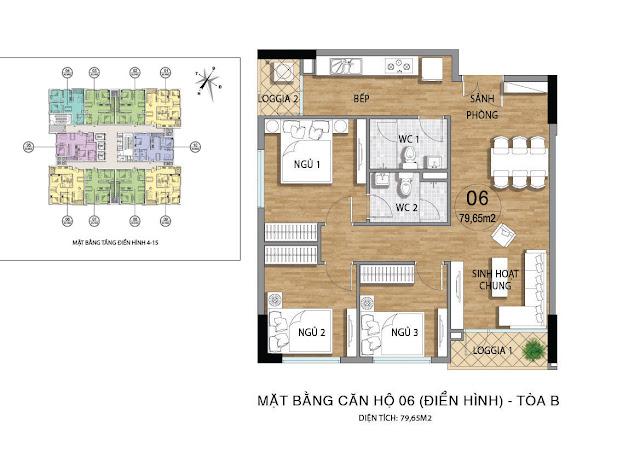 Mặt bằng căn hộ B06 tầng 4-15 dự án Valencia Garden