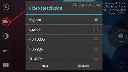 Tutorial Frame Lapse Menu Pengaturan Resolusi Video