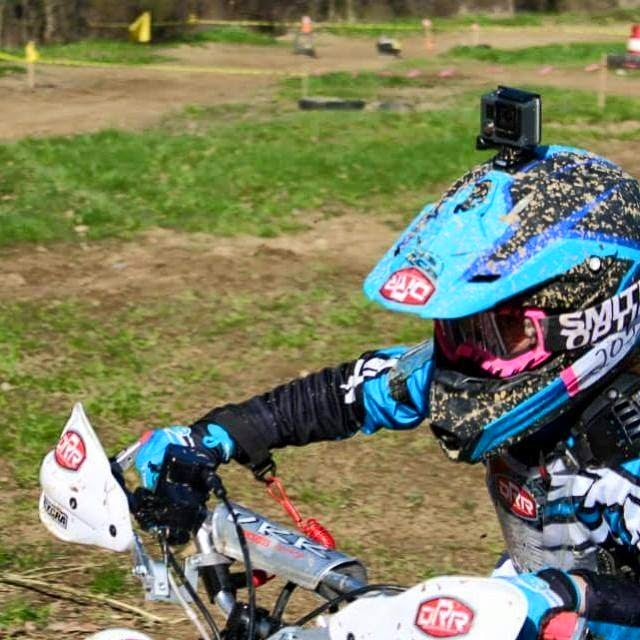 Andrea racing at Mansfield on 4-26-15. She placed 1st in the Jr Mini class and 3rd overall on her DRR! black,blue,gopro,#DRR #DRRUSA,#DRRracing, closeup