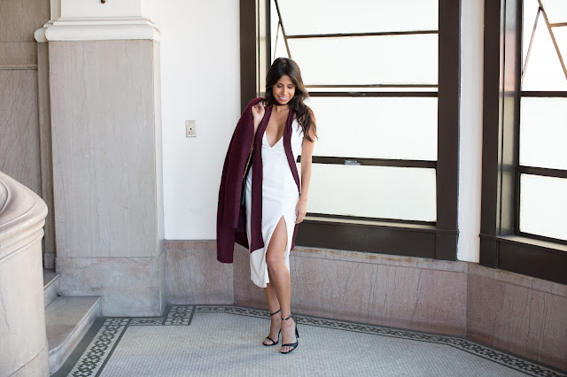 how to wear white for holiday, christmas party outfit, white dress, bb dakota coat