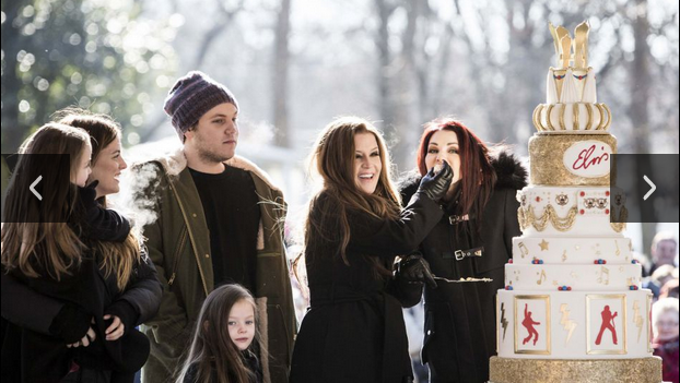 Priscilla Presley, daughter Lisa Marie Presley and her grandchildren celebrate the 80th anniversary of Elvis Presley's Graceland in Memphis property on January 8, 2015. In this photo: Lisa-Marie Presley, Priscilla Presley