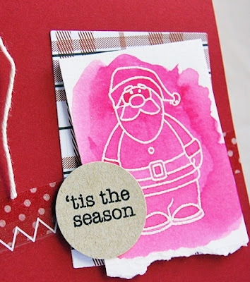 SRM Stickers Blog - Watercolor Santa by Tenia - #card #watercolor #stickerstitches #janesdoodles #tistheseason #twine #stickerstitches
