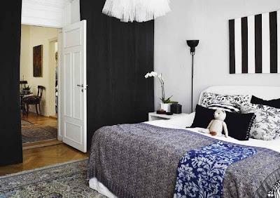 habitación matrimonial blanco y negro