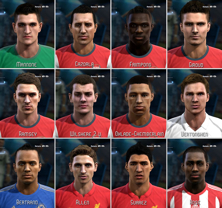 PES 2013 Premier League Facepack by shamrik gunners