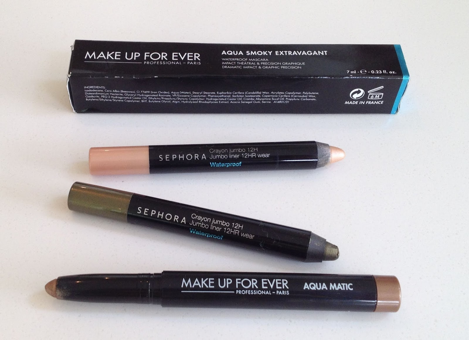 Sephora Waterproof 12H Jumbo Liner and Make Up Forever Aquamatic and Aqua Smoky Extravagan