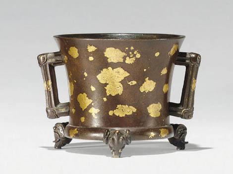 "<img src=""Ming Bronze.jpg"" alt=""Gilt bronze Incense burner with elephant feet "">"
