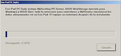 Imagen de la instalación de eeepad pc suite en Windows XP