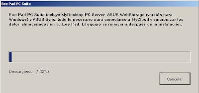 Imagen de la instalación de eeepad pc suite en Windows XP