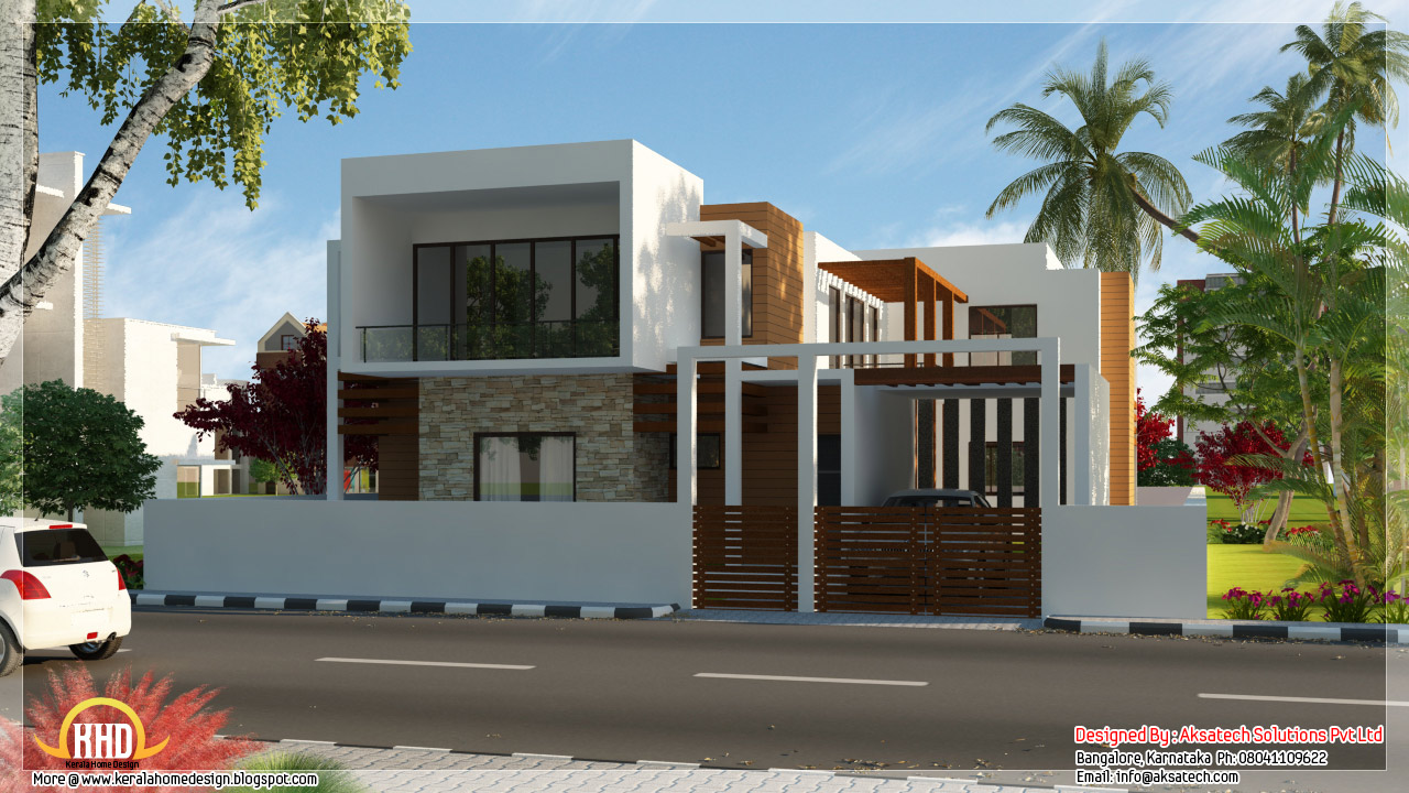 Beautiful contemporary home designs   Kerala home design and floor    Modern contemporary  n house elevations   interior designs by Aksatech Solutions  Bangalore  India  contemporary house