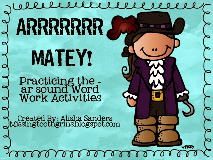 http://www.teacherspayteachers.com/Product/Pirate-Word-Work-and-Writing-Prompts-ar-vowel-sound-947119