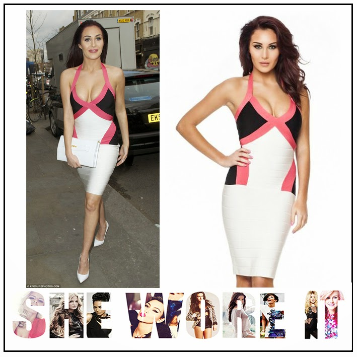 Bandage, Black, Bodycon, Chloe Goodman, Chloe Goodman For So In Fashion, Colour Block, Contrast, Coral, Dress, Halterneck, Panels, Pink, Plunge Front, Sleeveless, So In Fashion, White, Celebrity Fashion,