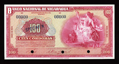 Nicaragua banknotes money currency 100 Cordobas banknote billete