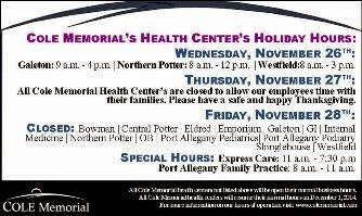Cole Memorial Health Center Holicay Hours