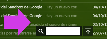 Mini buscador de Yahoo Mail