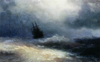 When the Storm Ship appears on the Hudson River, it is an omen of bad weather according to Dutch legend.  Painting: Ship in a Storm by Ivan Aivazovsky  www.wikipaintings.org