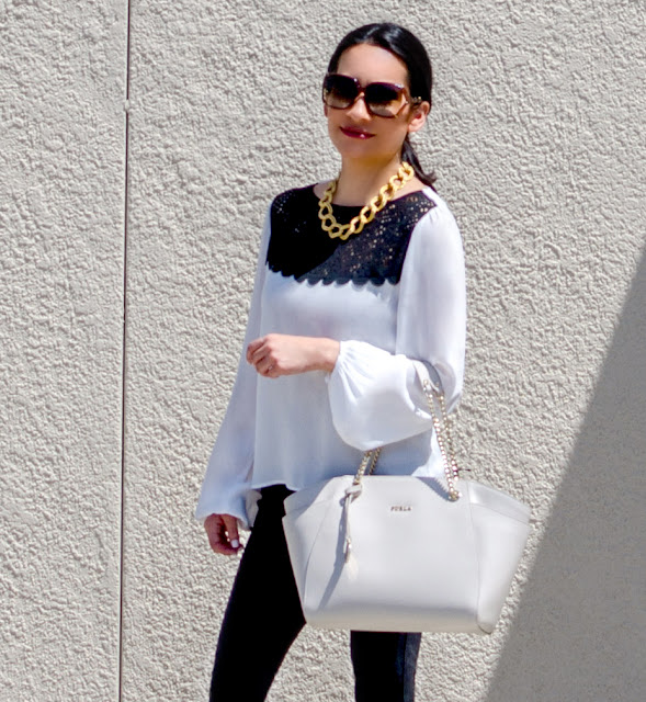 Gucci Sunglasses Costa Blanca Black and White Laser Cut Blouse Gold Link Necklace Black Free People Kick Flare Pull On Jeans Vintage Mens Inspired Gold and White Tip Balllet Flats with Chunk Heel Black and White Stiripes