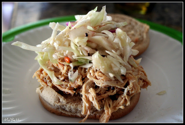 Easy Weeknight Dinner - Chicken BBQ & Slaw Sammie - Makin' it Mo'...