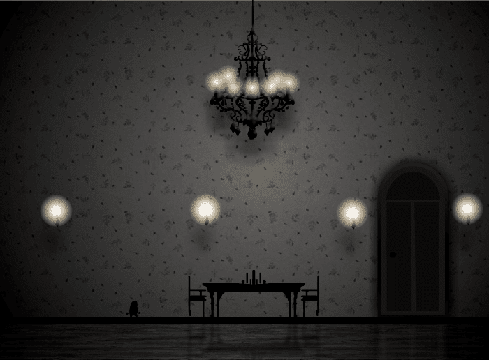 Coma game image inside black and white mansion