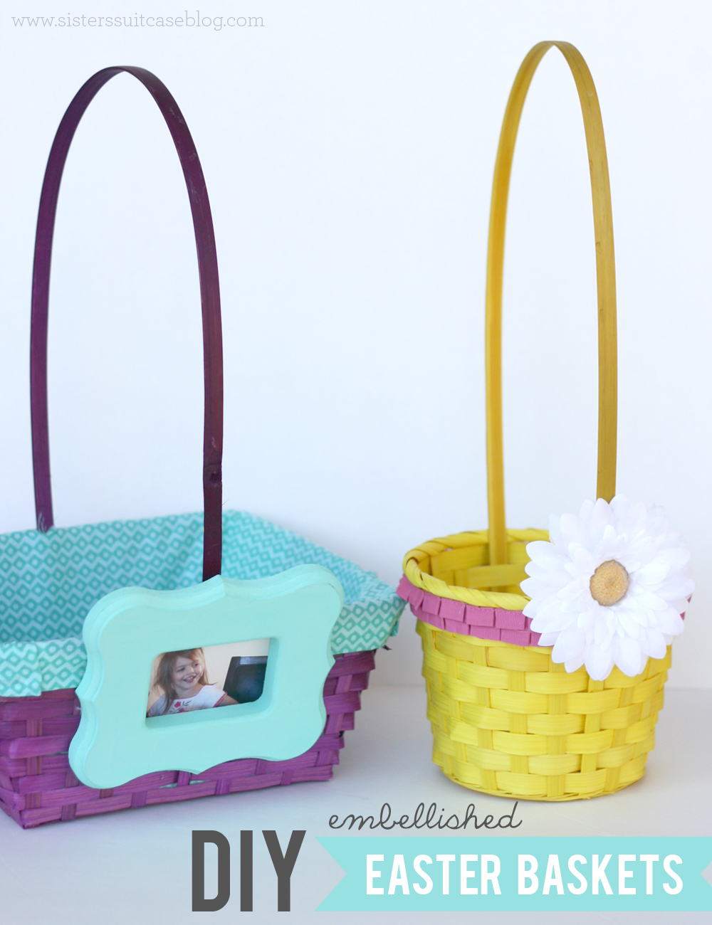 Diy embellished easter baskets my sisters suitcase packed today im sharing ideas on how to decorate those plain inexpensive easter baskets and turn them into something much more festive and beautiful negle Images