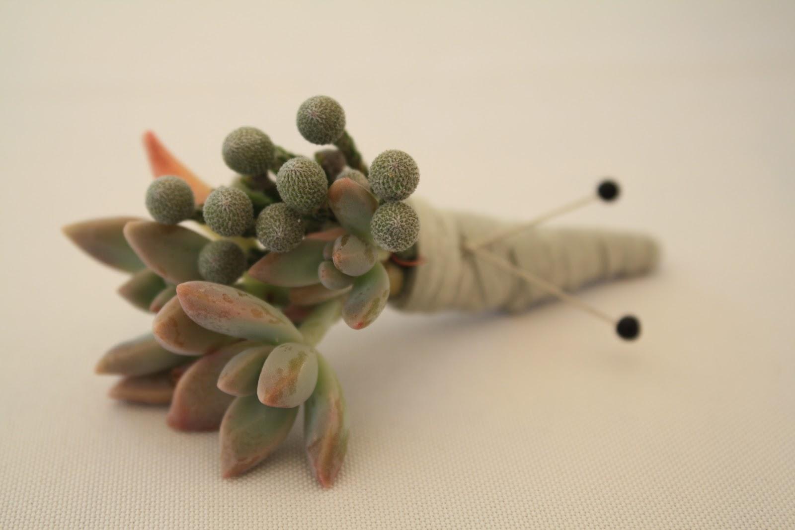 Succulent & Brunia Berries Boutonniere - Boutonnieres - Wedding Flowers - Groom - Usher - Best Man - Groomsmen - Ushers - Groom's Boutonniere