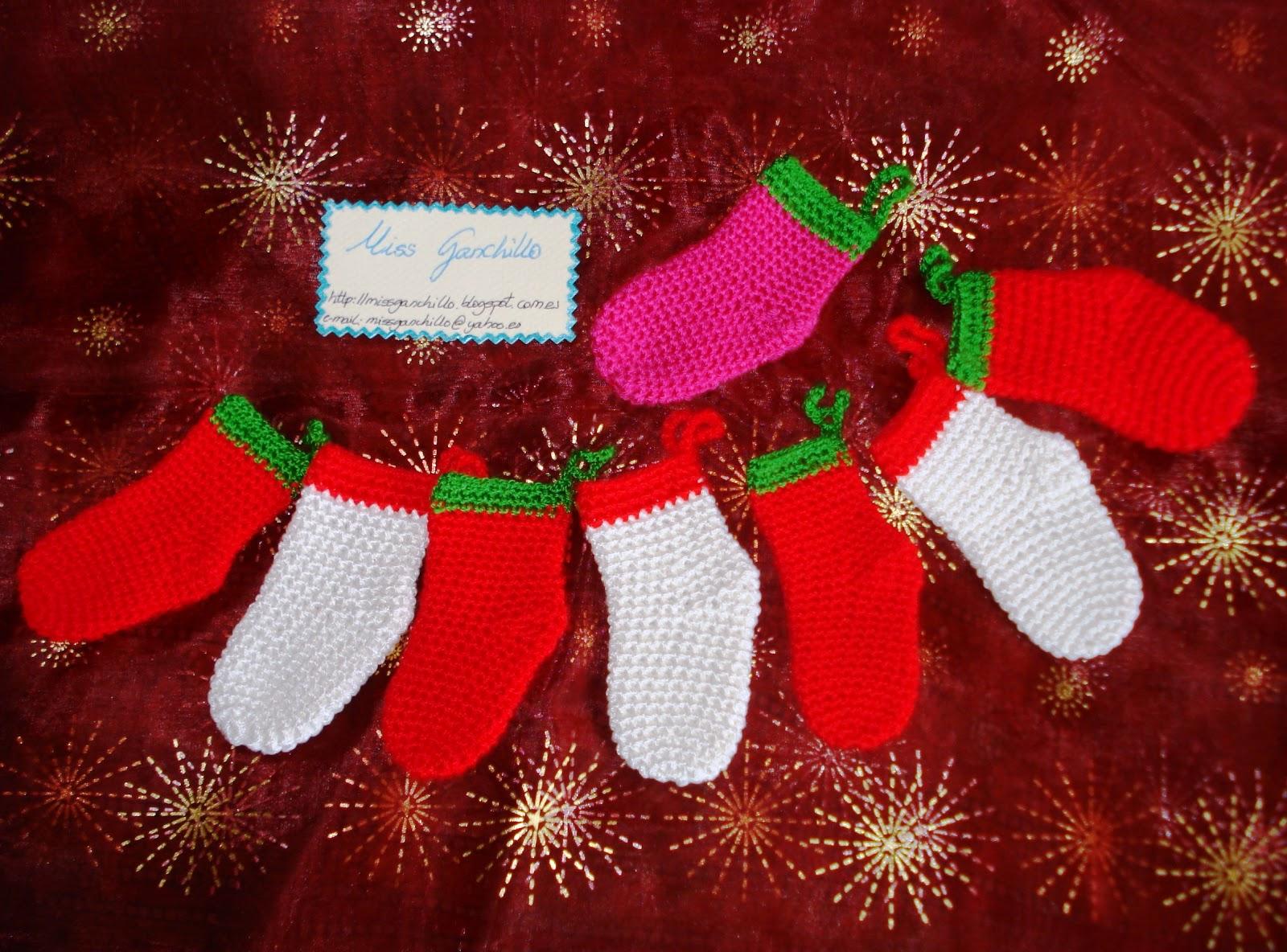 Miss ganchillo calcetines para rbol de navidad - Calcetines de navidad personalizados ...