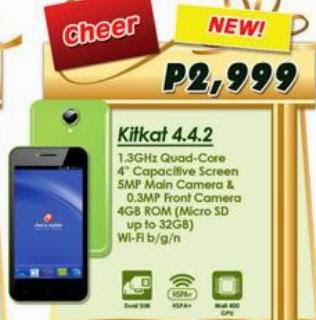 Cherry Mobile Cheer, Affordable 4-inch Quad Core Smartphone for Php2,999