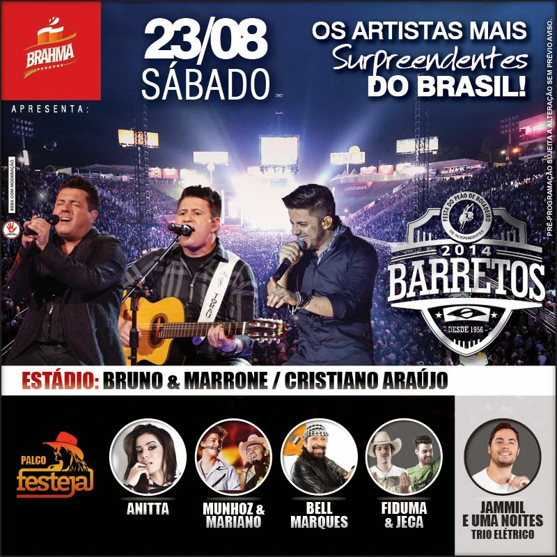 Programa��o da 59� Festa do Pe�o de Barretos 2014 - Dia 23/08/2014
