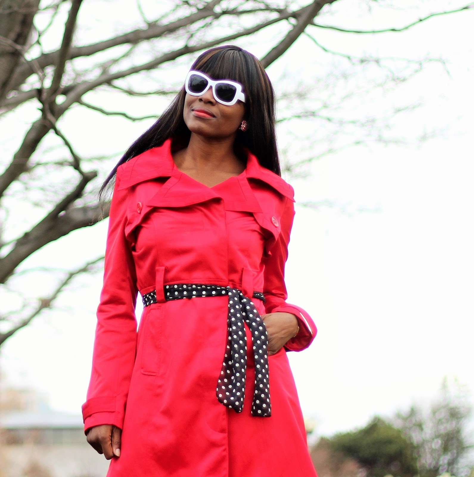 Wearing a belted coat using the Mia Beauty 3-in-1 Switch-a-Roo as a belt