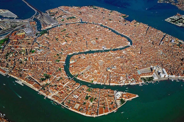 Ariel view of Venice in Italy