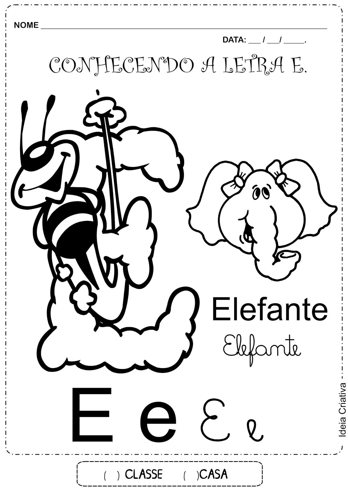Atividade Conhecendo a Letra E