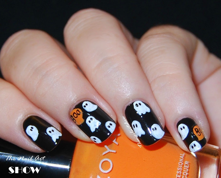 I used achrylic paint to do the little ghosts. It was actually a really  quick design to do, and also quite fun. However I need to get my hands on  some good ... - The Nail Art Show: Boo! Ghost Pattern Nail Art
