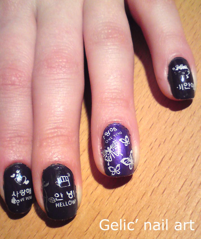 Gelic Nail Art Stamping Nail Art On Purple Nails