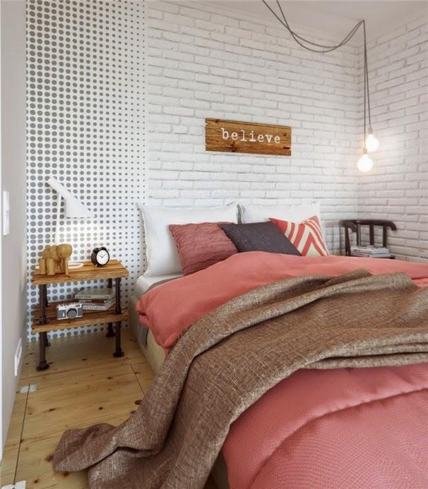 scandinavian colour apartment bedroom