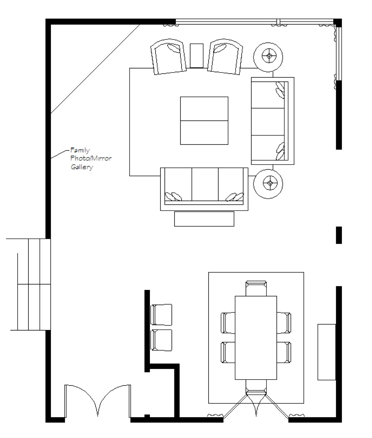 Dining room and living room using the items show in her design plan
